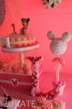 Decorations at a Minnie Mouse shabby chic birthday party! See more party ideas at CatchMyParty.com!