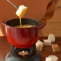 Beer and Cheddar Fondue This beer-and-cheese recipe forms a fabulous cheesy crust at the bottom of the fondue pot that's as precious as liquid gold. All your guests will want a fair share.