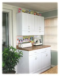 May be able to store large items such as laminator and guillotine on top of shelving, rather than cluttering up the workspace.