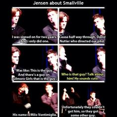 "Jensen on Smallville being cut short because he was ""the guy"" for SPN. Repinned because Jared's interruption and Jensen's save."