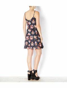 Black Pattern (Black) Black Floral Print Strappy Slip Dress | 300146009 | New Look
