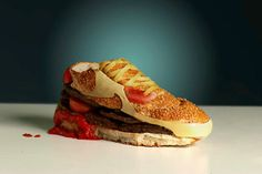 20 Of The Weirdest Shoes, Ever #refinery29 http://www.refinery29.com/20-of-the-weirdest-footwear-we-could-find#slide-19 Hamburger Nike Sneaker—This is a sneaker that'd go well with a side of fries.