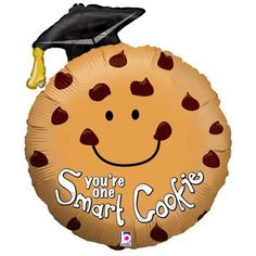 """You're One Smart Cookie"" Graduation 29"" Balloon Mylar by Betallic. $8.37. Size: 29"". Balloon is double sided. Design: Chocolate chip cookie wearing a graduation cap. The cookie is smiling and at the bottom of the cookie is ""You're one smart cookie"" message.. Not Packaged"