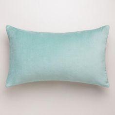 Blue Surf Velvet Lumbar Pillow