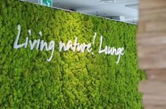 Green wall Logo - Oasegroen Greens Up Dull Interiors With Living, Breathing Moss Walls. Nachhaltiges Design, Wall Design, Bauhaus Interior, Interior Logo, Island Moos, Vertical Green Wall, Interior Design Videos, Wall Logo, Green Office