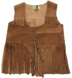 Hand-made tie front Deer skin vest with fringes by Wovenplay.