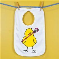 Baby Bib Lacrosse Peep Tall - An adorable super soft cotton bib for your #1 Fan.