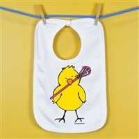 Baby Bib Lacrosse Peep Tall - An adorable super soft cotton bib for your #1 Fan.
