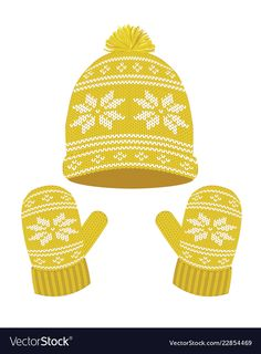 Yellow knitted winter hat and gloves vector image on VectorStock The Snow, Winter Clipart, Fabric Structure, Knitting Wool, Everyday Objects, Printable Paper, Christmas Wallpaper, Material Design, Projects For Kids