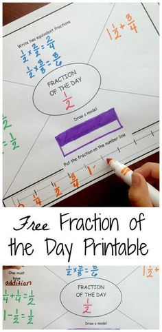 GREAT FOR DWU! Do you have students that struggle with fractions? Try out this daily fraction printable to build their fraction knowledge. Works on equivalent fractions, creating equations using fractions, number lines with fractions, and fraction models. Teaching Fractions, Math Fractions, Teaching Math, Equivalent Fractions, Dividing Fractions, Fractions Decimals And Percentages, Operations With Fractions, Comparing Fractions, Multiplication Games