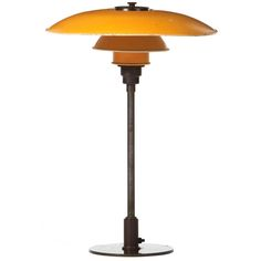 3.5/2.5 desk lamp in brown brass and bakelite marked patented with yellow zinc metal shades - poul henningsen - denmark - 1930s - LENGTH: 	19 in. (48 cm) HEIGHT: 	15 in. (38 cm)