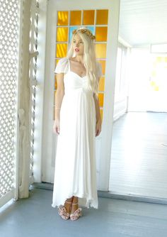 ODESSA: Fairy goddess beach wedding dress with straps sleeves empire waist plus size short boho hippie simple by dahlnyc on Etsy https://www.etsy.com/listing/113273267/odessa-fairy-goddess-beach-wedding-dress