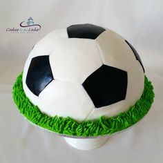 SOCCERBALL CAKE  We certainly kicked some goals with this half sphere buttercake covered in fondant from this weekend. It was then finished with buttercream grass around the outside  www.cakesbythelake.com.au www.instagram.com/cakes_by_the_lake