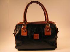 HARTMANN Satchel Handbag Bag  Black leather & tan by ForeverGinger