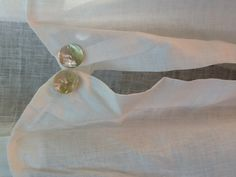 Mother of pearl button detail on my linen apron