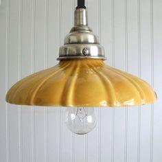 yellow enamel pendant light via curious sofa Farmhouse Lighting, Kitchen Lighting, Home Lighting, Pendant Lighting, Pendant Lamp, Chandeliers, Deco Luminaire, Yellow Cottage, Shades Of Yellow