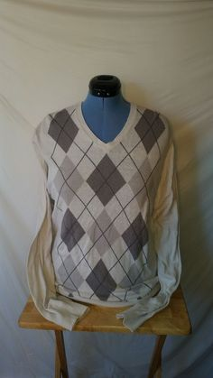 Womens Izod White Gray Blue Argyle V-Neck Long Sleeve Sweater Large L  #IZOD #VNeck