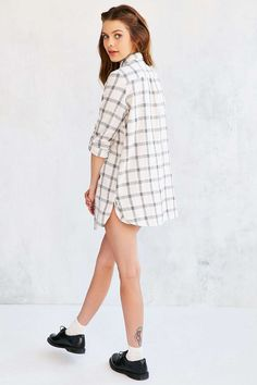 Margot Slim-Fit Button-Down Tunic Top - Urban Outfitters