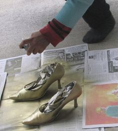spraypaint shoes metallic diy tutorial - to paint the boys' kicks silver!