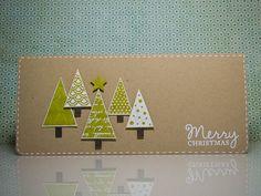 Preciosa tarjeta navideña con papel kraft como base y fondo. Sencilla y preciosa!