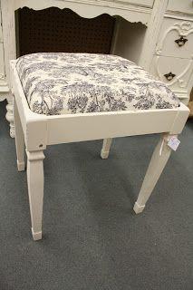Gorgeous refinished antique furniture #shabbychic #beautiful #antique #stool #distressed #antique #fabric #vanity