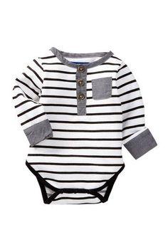 Striped Henley Bodysuit (Baby Boys) by Beetle & Thread on @HauteLook