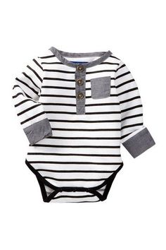 Striped Henley Bodysuit (Baby Boys) by Beetle & Thread on @HauteLook