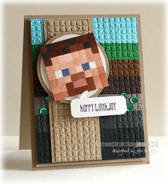 Minecraft Birthday DS109 by Jen Shults.    I would like to recreate with Stampin up products!