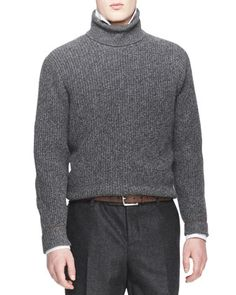 Melange Cashmere Shaker-Knit Sweater by Brunello Cucinelli at Neiman Marcus.