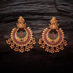 Lakshmi design antique earrings studded with synthetic ruby green stones and plated with gold polish, made of copper alloy Gold Jhumka Earrings, Indian Jewelry Earrings, Jewelry Design Earrings, Gold Earrings Designs, Antique Earrings, Gold Earrings For Women, Synthetic Ruby, Gold Polish, 1 Gram Gold Jewellery