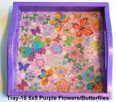 wood tray with a flower and butterfly theme sealed in resin. Great for kids! Wood Tray, Trays, Magnets, Polymer Clay, Resin, Butterfly, Flowers, Kids, Young Children