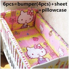 Promotion! 6pcs Hello Kitty Bed Linen crib bedding set Cot Baby bedding set 100% cotton ,include(bumpers+sheet+pillow cover)