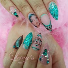 Nail art Christmas - the festive spirit on the nails. Over 70 creative ideas and tutorials - My Nails Disney Acrylic Nails, Disney Nails, Best Acrylic Nails, Stylish Nails, Trendy Nails, Cute Nail Art, Cute Nails, Hair And Nails, My Nails