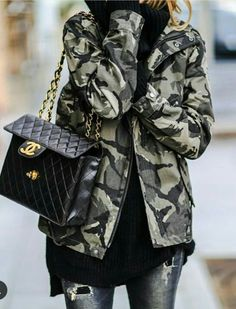 bd43d2acb4 The shape of this Chanel bag. #camoflauge #camojacket #cool #style Outfit