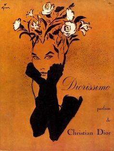 "christinerod: "" Rene Gruau illustration for Diorissimo perfume, "" Vintage Dior, Vintage Perfume, Vintage Beauty, Vintage Ads, Vintage Posters, Art And Illustration, Alphonse Mucha, Jacques Fath, Pierre Balmain"