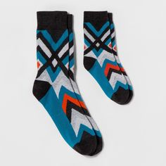 Pair of Thieves Men's Dad+Kid Socks - Navy Zig Zag Stripe M, Blue Orange