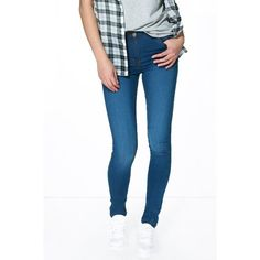 Boohoo Blue Debbi Mid Rise 5 Pocket Skinny Jeans ($26) ❤ liked on Polyvore featuring jeans, indigo, distressed skinny jeans, slim straight jeans, high waisted skinny jeans, white ripped jeans and high waisted boyfriend jeans