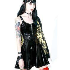Current Mood Darby PVC Skater Dress (£55) ❤ liked on Polyvore featuring dresses, embellished skater dress, embellished dress, strap dress, flared skirt and back zipper dress