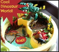 fun dinosaur play small world with playdough