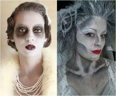 maquillage Halloween sorcière avec un collier