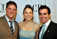 Tony nominees Christopher Sieber, Sutton Foster and Brian d'Arcy James from Shrek The Musical at the 2009 Meet the Press event on May 6.  Photo: Anita and Steve Shevett