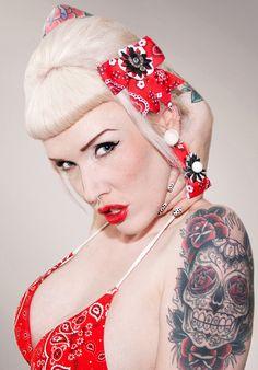 Rockabilly Rhinestone Cowgirl Horseshoe Flower Red Bandana Hair Bow via Etsy
