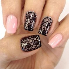 Pink and black Intricate Lace NailArt