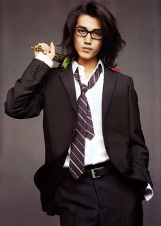 jin akanishi - it's like he's  pissed to see you, but loves you too much so he bought flowers?? :P