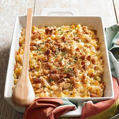 Only 5 ingredients make up this cozy Smoky Chicken and Cheesy Potato casserole