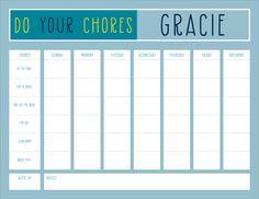 Aqua Do Your Chores Calendar