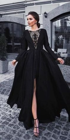 33 Beautiful Black Wedding Dresses That Will Strike Your Fancy ❤ black wedding. 33 Beautiful Black Wedding Dresses That Will Strike Your Fancy ❤ black wedding dresses ball gown with long sleeves slit lace neckline olyamak ❤ Fancy Wedding Dresses, Wedding Dress Styles, Elegant Dresses, Beautiful Dresses, Amazing Dresses, Ball Dresses, Evening Dresses, Prom Dresses, Dresses With Sleeves