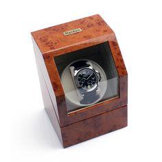 Heiden Burl Battery Powered Single Watch Winder