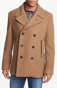 MARC BY MARC JACOBS 'Rushmore' Double Breasted Wool Blend Peacoat available at #Nordstrom