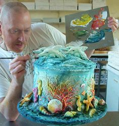 Dolphin cakes by David Cakes Fancy Cakes, Cute Cakes, Pretty Cakes, Beautiful Cakes, Amazing Cakes, Beautiful Ocean, Amazing Art, Amazing Pics, Ocean Cakes
